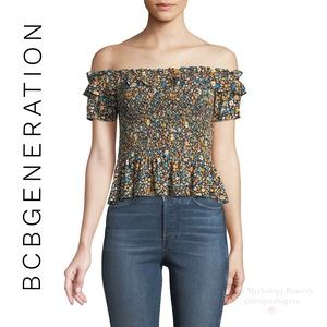 BCBGeneration Smocked Floral Blouse
